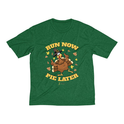 Run Now Pie Later Men's Short Sleeve Tech Shirt T-Shirt Printify Sport-Tek Forest Green Heather XS