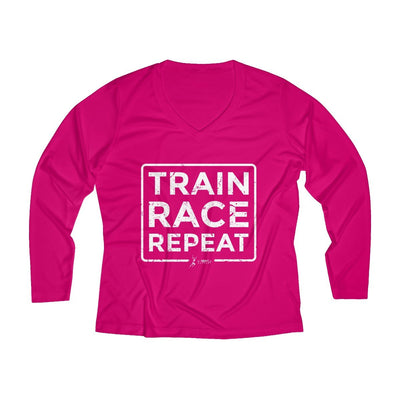 Train Race Repeat Women's Long Sleeve Tech Shirt Long-sleeve Printify Sport Tek Pink Raspberry XS