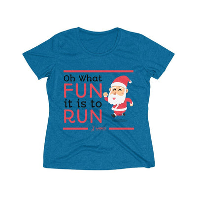 Oh What Fun it is to Run Women's Short Sleeve Tech Shirt T-Shirt Printify Sport-Tek Blue Wake Heather XS