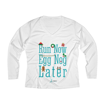 Run Now Eggnog Later Women's Long Sleeve Tech Shirt Long-sleeve Printify White XS