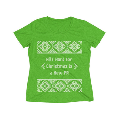 All I Want for Christmas Women's Short Sleeve Tech Shirt T-Shirt Printify Sport-Tek Turf Green Heather XS