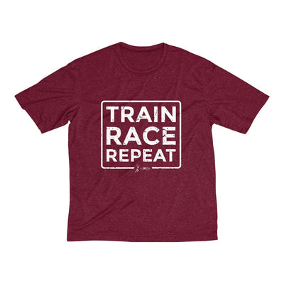 Train Race Repeat Men's Short Sleeve Tech Shirt T-Shirt Printify Sport Tek Cardinal Heather XS