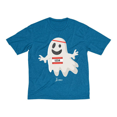Happy Ghost Runner Halloween Men's Short Sleeve Tech Shirt T-Shirt Printify Sport-Tek Blue Wake Heather XS