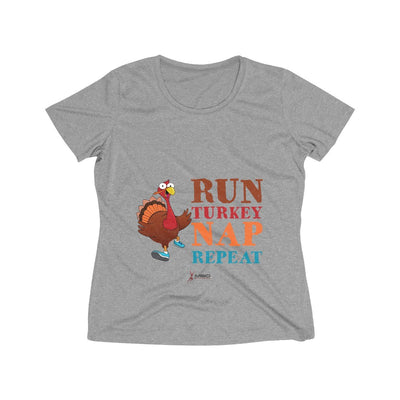 Run Turkey Nap Repeat Women's Short Sleeve Tech Shirt T-Shirt Printify Sport-Tek Vintage Heather XS