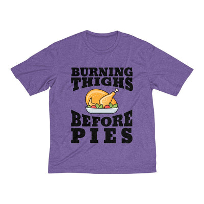 Burning Thighs Before Pies Men's Short Sleeve Tech Shirt T-Shirt Printify Sport-Tek Purple Heather XS