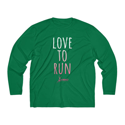 Love To Run Men's Long Sleeve Tech Shirt Long-sleeve Printify Sport-Tek Forest Green XS