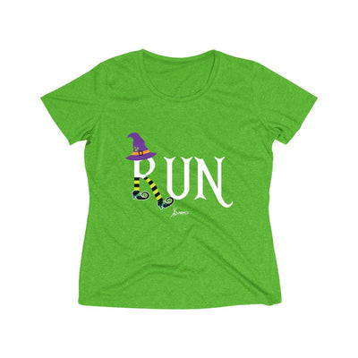 Running Witch Halloween Women's Short Sleeve Tech Shirt T-Shirt Printify Sport-Tek Turf Green Heather XS