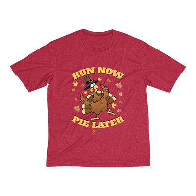 Run Now Pie Later Men's Short Sleeve Tech Shirt T-Shirt Printify Sport-Tek Scarlet Heather XS