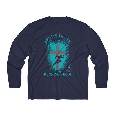 Jesus is My Running Buddy Men's Long Sleeve Tech Shirt Long-sleeve Printify Sport-Tek True Navy XS
