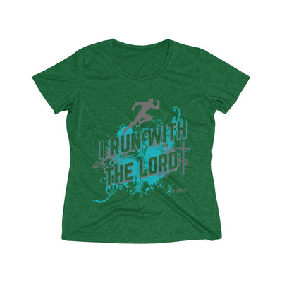 I Run With the Lord Women's Short Sleeve Tech Shirt T-Shirt Printify Sport Tek Forest Green Heather L