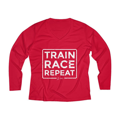 Train Race Repeat Women's Long Sleeve Tech Shirt Long-sleeve Printify Sport Tek True Red XS