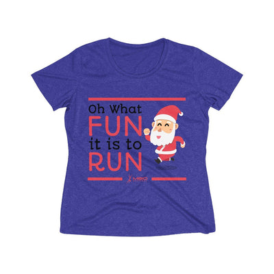 Oh What Fun it is to Run Women's Short Sleeve Tech Shirt T-Shirt Printify Sport-Tek Cobalt Heather S