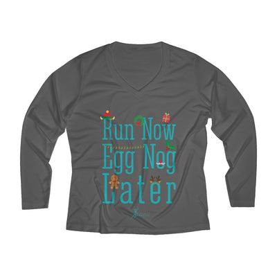 Run Now Eggnog Later Women's Long Sleeve Tech Shirt Long-sleeve Printify Sport-Tek Iron Grey XS
