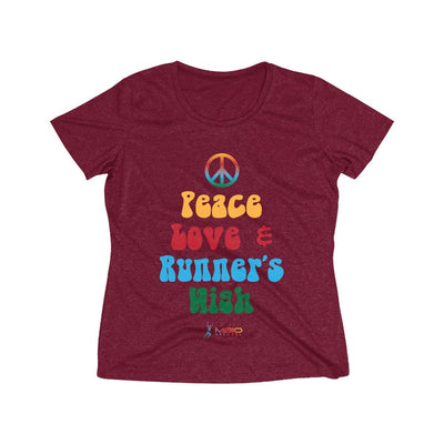 Peace, Love, and Runner's High Women's Short Sleeve Tech Shirt T-Shirt Printify Sport-Tek Cardinal Heather XS