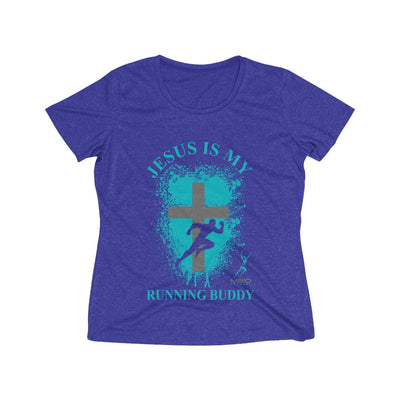 Jesus is My Running Buddy Women's Short Sleeve Tech Shirt T-Shirt Printify Sport-Tek Cobalt Heather S