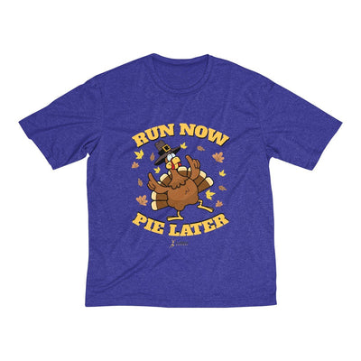 Run Now Pie Later Men's Short Sleeve Tech Shirt T-Shirt Printify Sport-Tek Cobalt Heather XS
