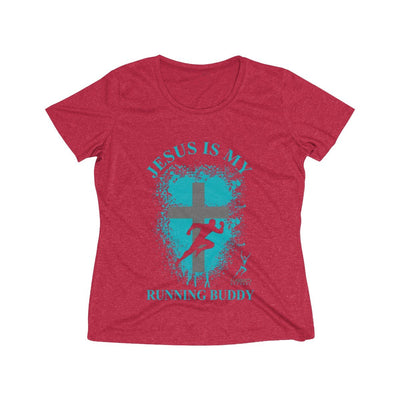 Jesus is My Running Buddy Women's Short Sleeve Tech Shirt T-Shirt Printify Sport-Tek Scarlet Heather XS