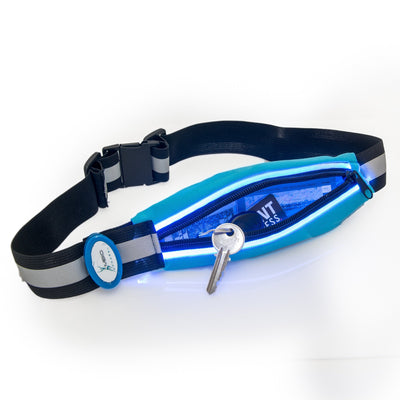 Light-Up Running Belt With Reflective Strip Running Belt Mbio Apparel Blue Belt