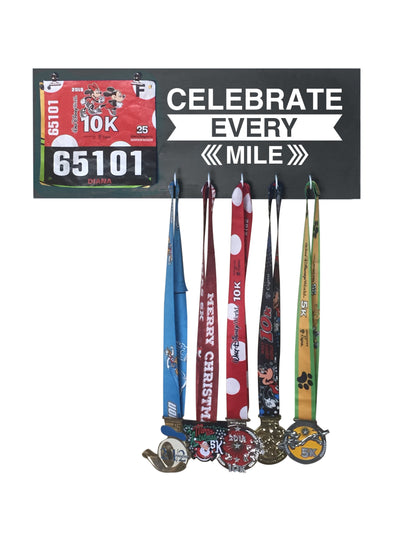 Celebrate Every Mile - Running Medal Display Running Medal Hanger Mbio Apparel Black of Night