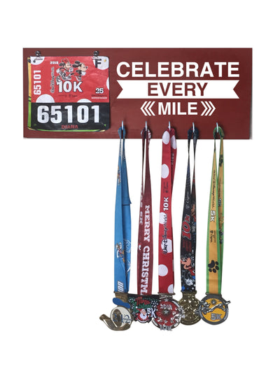 Celebrate Every Mile - Running Medal Display Running Medal Hanger Mbio Apparel Antique Red