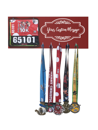 Custom Running Medal Display Running Medal Hanger Mbio Apparel Antique Red