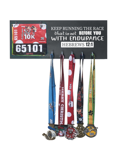Hebrews 12:1 - Running Medal Display Running Medal Hanger Mbio Apparel Black of Night