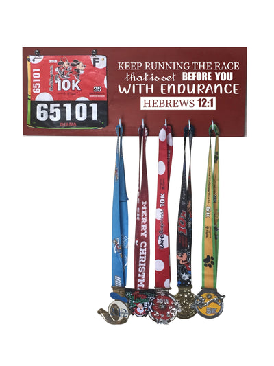 Hebrews 12:1 - Running Medal Display Running Medal Hanger Mbio Apparel Antique Red