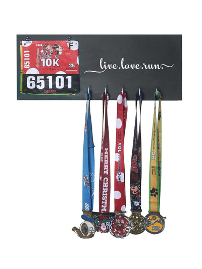 Running Medal Hanger - Live Love Run Running Medal Hanger Mbio Apparel Black of Night