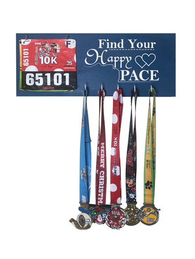 Find Your Happy Pace - Running Medal Display Running Medal Hanger Mbio Apparel Oceanside
