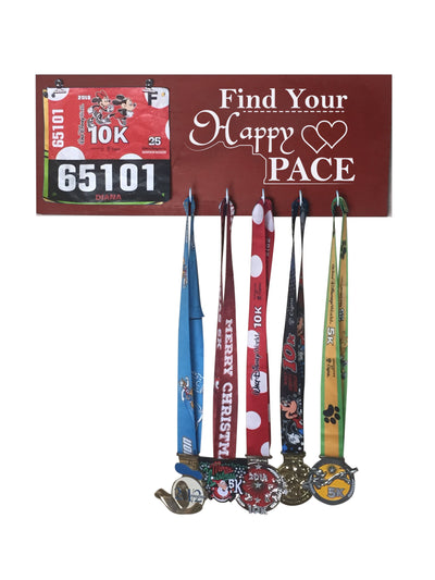 Find Your Happy Pace - Running Medal Display Running Medal Hanger Mbio Apparel Antique Red