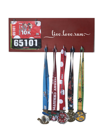 Running Medal Hanger - Live Love Run Running Medal Hanger Mbio Apparel Antique Red