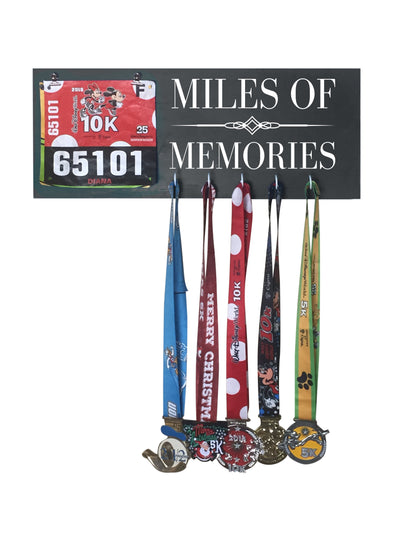 Miles of Memories - Running Medal Display Running Medal Hanger Mbio Apparel Black of Night