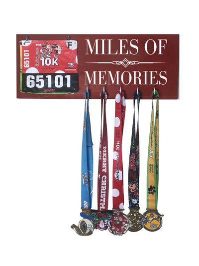 Miles of Memories - Running Medal Display Running Medal Hanger Mbio Apparel Antique Red