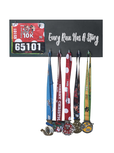 Every Race has a Story - Running Medal Display Running Medal Hanger Mbio Apparel Black of Night