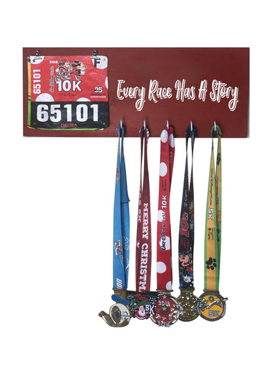 Every Race has a Story - Running Medal Display Running Medal Hanger Mbio Apparel Antique Red