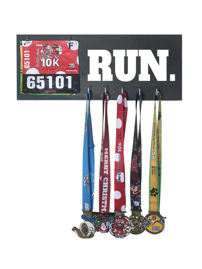 Run - Running Medal Display Running Medal Hanger Mbio Apparel Black of Night