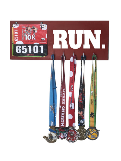 Run - Running Medal Display Running Medal Hanger Mbio Apparel Antique Red