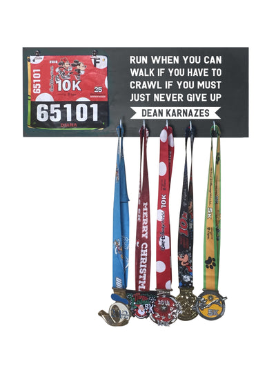 Run When You Can - Running Medal Display Running Medal Hanger Mbio Apparel Black of Night