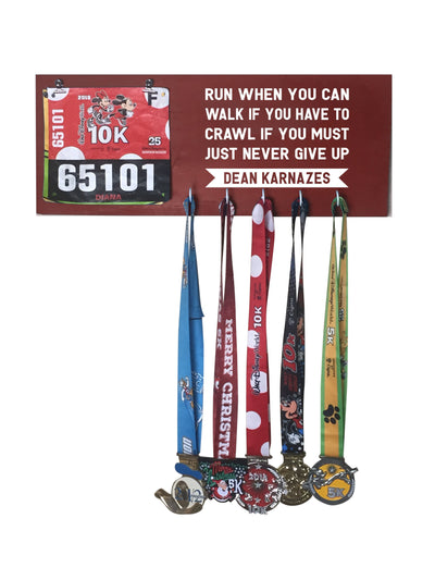 Run When You Can - Running Medal Display Running Medal Hanger Mbio Apparel Antique Red