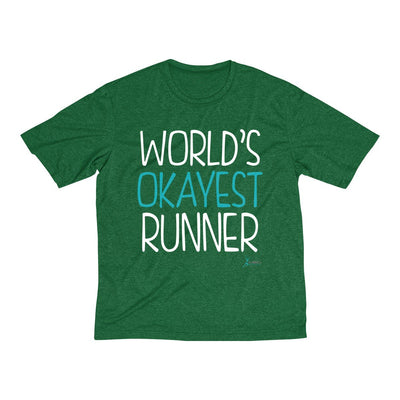 World's Okayest Runner Men's Short Sleeve Tech Shirt T-Shirt Printify Sport Tek Forest Green Heather XS