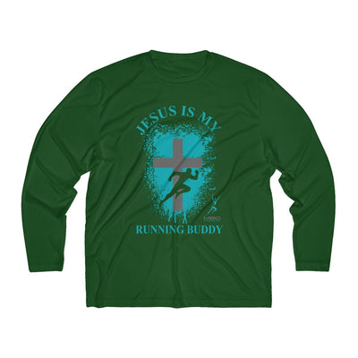Jesus is My Running Buddy Men's Long Sleeve Tech Shirt Long-sleeve Printify Sport-Tek Forest Green XS