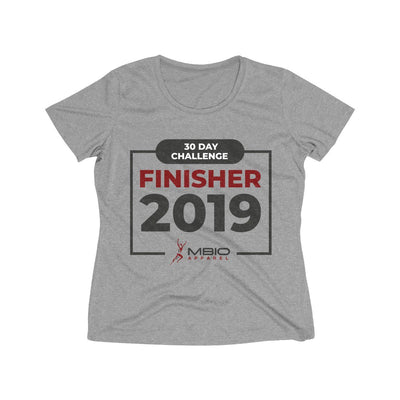 2019 30 Day Challenge Finisher Women's Short Sleeve Tech Shirt T-Shirt Printify Sport Tek Vintage Heather L