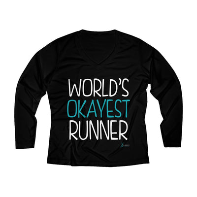World's Okayest Runner Women's Long Sleeve Tech Shirt Long-sleeve Printify Black XS