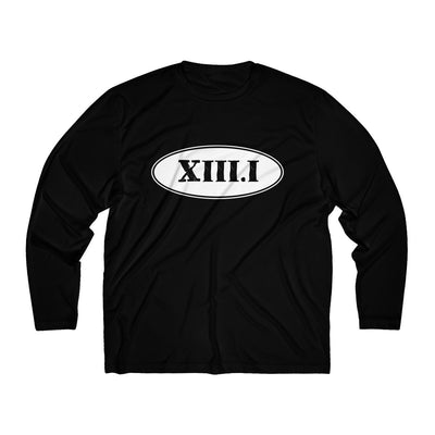 Half Marathon Roman Numeral Oval Men's Long Sleeve Tech Shirt Long-sleeve Printify Black L