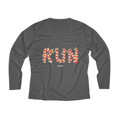 Festive Run Women's Long Sleeve Tech Shirt Long-sleeve Printify Sport-Tek Iron Grey L