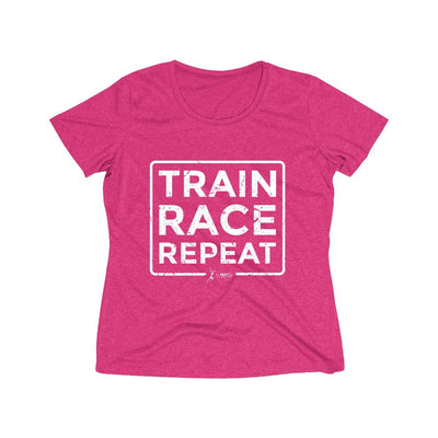 Train Race Repeat Women's Short Sleeve Tech Shirt T-Shirt Printify Sport Tek Pink Raspberry Heather XS