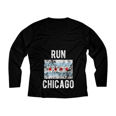 Run Chicago Women's Long Sleeve Tech Shirt Long-sleeve Printify Sport Tek Black XS