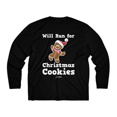 Will Run for Christmas Cookies Men's Long Sleeve Tech Shirt Long-sleeve Printify Sport-Tek Black L