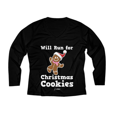 Will Run for Christmas Cookies Women's Long Sleeve Tech Shirt Long-sleeve Printify Sport-Tek Black XS