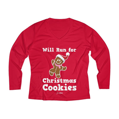 Will Run for Christmas Cookies Women's Long Sleeve Tech Shirt Long-sleeve Printify Sport-Tek True Red XS
